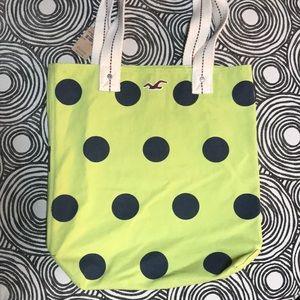 NWT! HOLLISTER cotton canvas dot tote beach bag